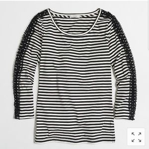 NWT J.Crew Factory Striped Lace-Sleeve Tee